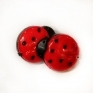 Ladybug button on heel, plastic, 13*15 mm